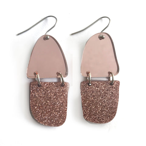 Reflection Earrings Rose Gold - Mikmat Designs Earrings Laser Cut Designs