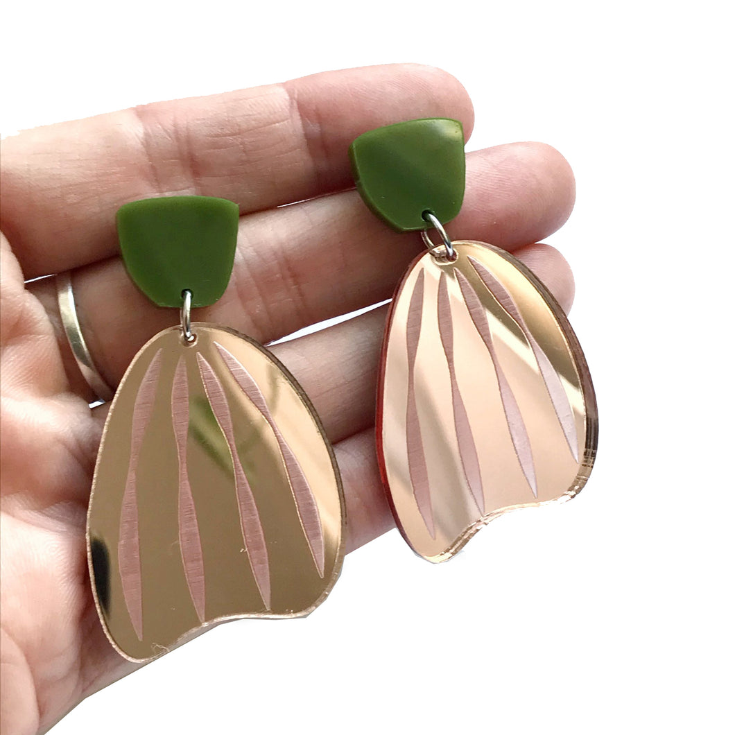 Stripe Earrings in Rose Gold Mirror with Olive Green top