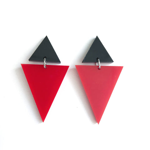 Double Triangles Red Orange and Black Earrings