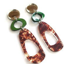 Load image into Gallery viewer, Trio Hoop Earrings in Green, Tortoise Shell and Gold