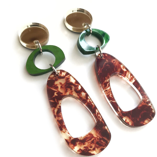 Trio Hoop Earrings in Green, Tortoise Shell and Gold