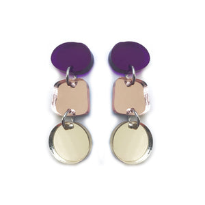 Trio Earrings in Purple, Rose Gold & Gold Mirror - Mikmat Designs Earrings Laser Cut Designs