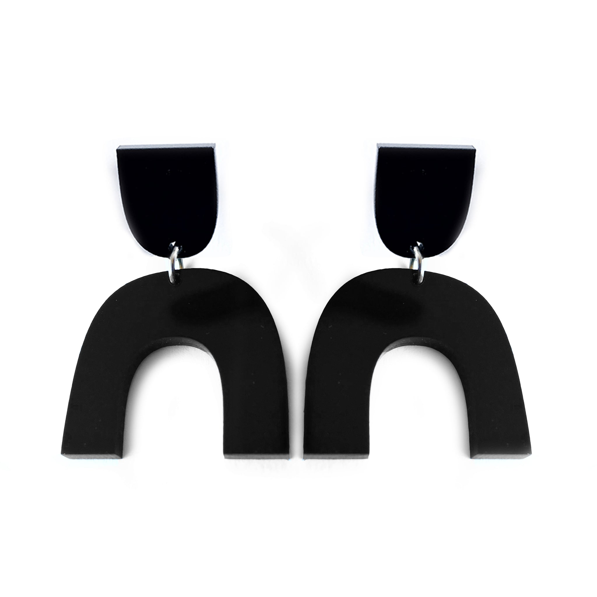 Arch Drop Earrings Black - Mikmat Designs Earrings Laser Cut Designs