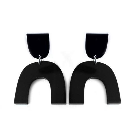 Arch Earrings Black Acrylic - Mikmat Designs Earrings Laser Cut Designs