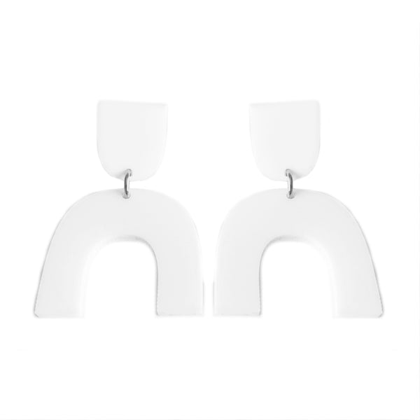 Arch Drop Earrings White - Mikmat Designs Earrings Laser Cut Designs