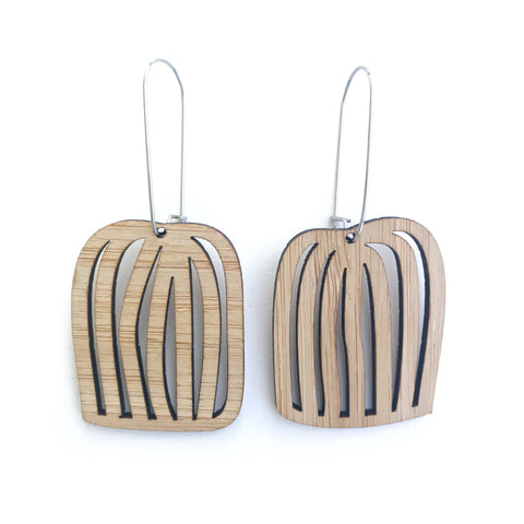 Birdcage Hooked Earring Bamboo - Mikmat Designs Earrings Laser Cut Designs