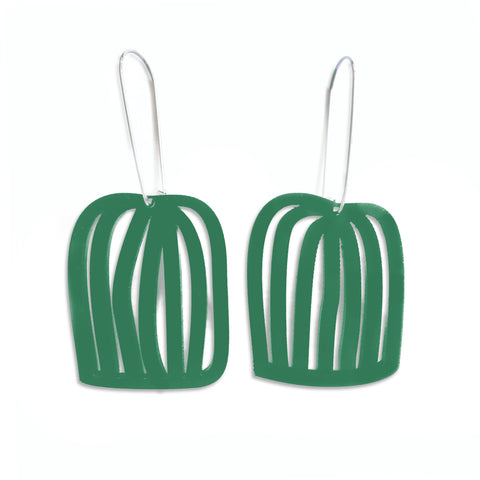 Birdcage Hooked Earring Green - Mikmat Designs Earrings Laser Cut Designs