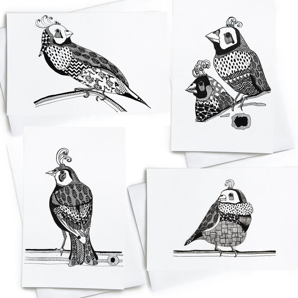 Finch Greeting Cards 4 Pack - Mikmat Designs