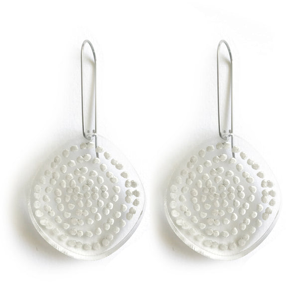 Spiral Dots Earrings in Clear - Mikmat Designs