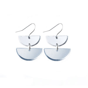 Double Dip Hook Earrings Silver Mirror - Mikmat Designs Earrings Laser Cut Designs