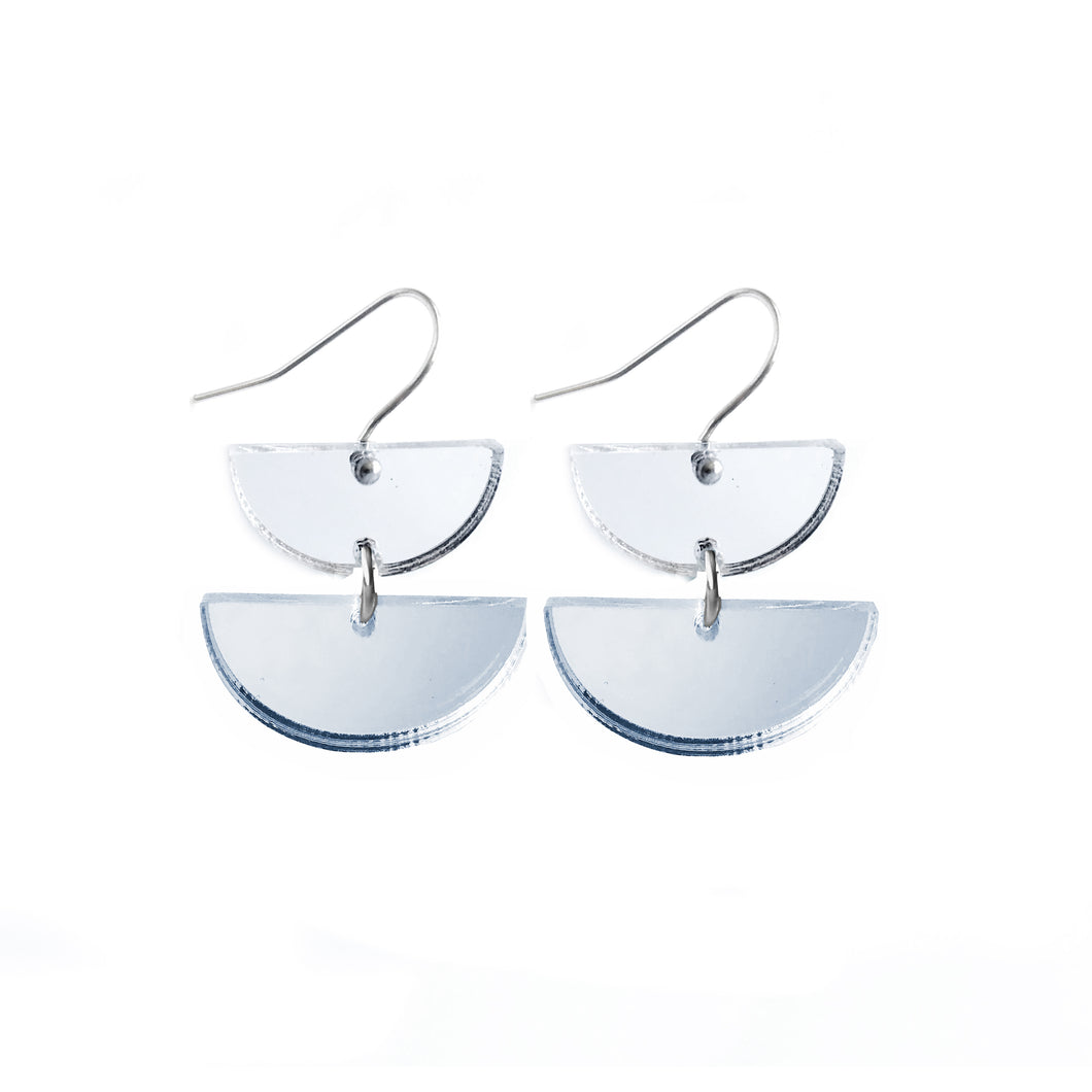 Double Dip Hook Earrings Silver Mirror - Mikmat Designs