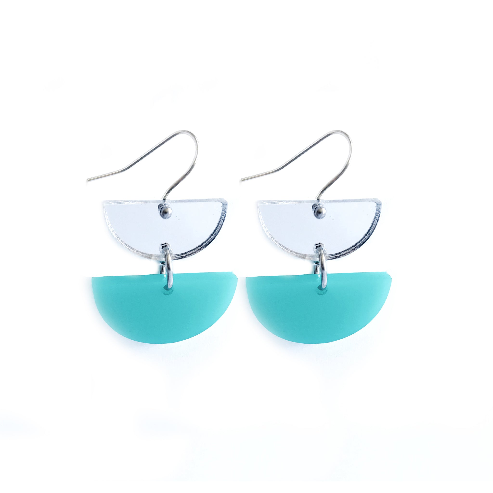 Double Dip Hook Earrings Silver & Mint - Mikmat Designs Earrings Laser Cut Designs