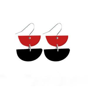 Double Dip Hook Earrings Red & Black - Mikmat Designs Earrings Laser Cut Designs