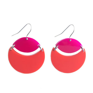 Eclipse Drop Earrings Pink & Bright Red - Mikmat Designs Earrings Laser Cut Designs