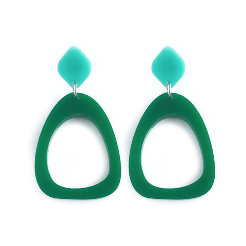 Organic Egg Drop Earrings Bottle Green - Mikmat Designs Earrings Laser Cut Designs