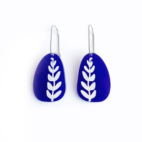 Fern Earrings Blue and White - Mikmat Designs Earrings Laser Cut Designs
