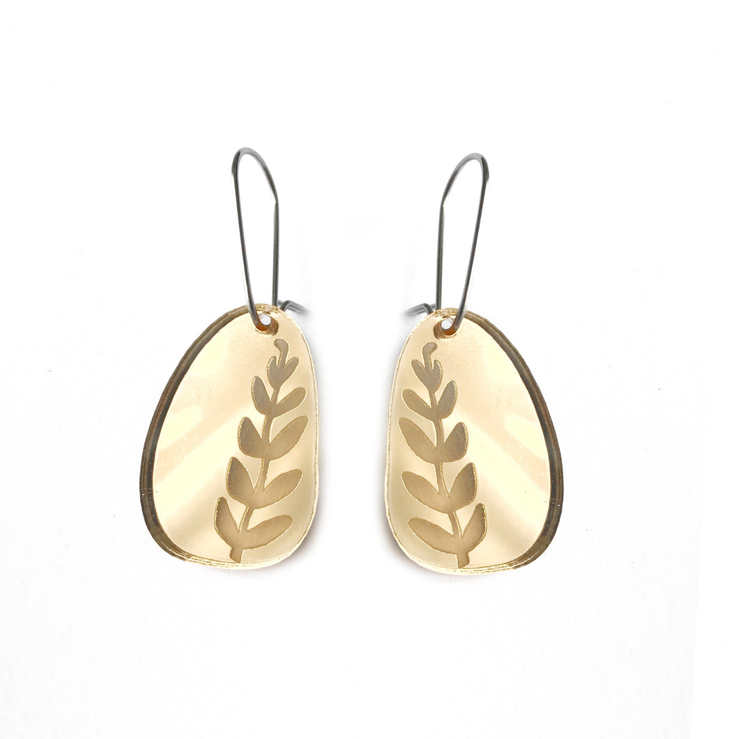 Fern Earrings Gold Mirror
