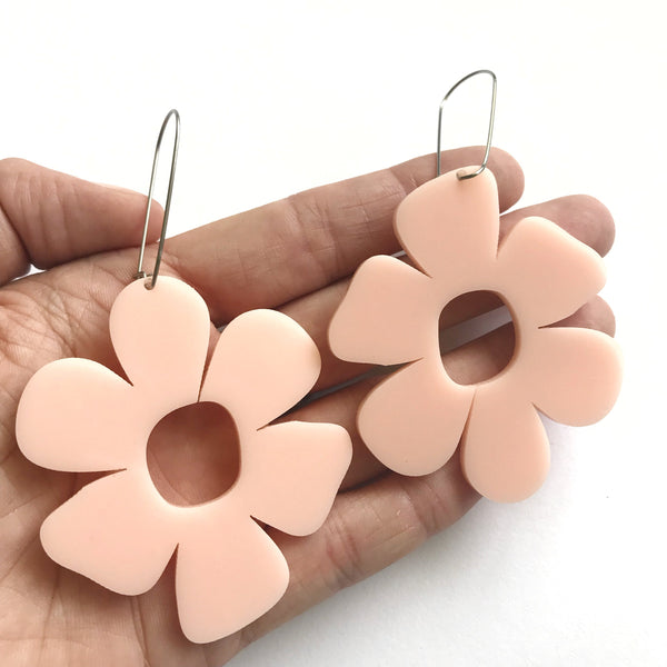 Giant Flower Earrings Blush - Mikmat Designs Earrings Laser Cut Designs