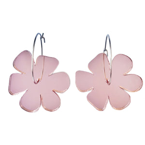 Flower Earrings Rose Gold Mirror - Mikmat Designs Earrings Laser Cut Designs