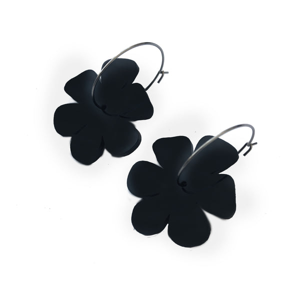 Flower Earrings Black - Mikmat Designs Earrings Laser Cut Designs