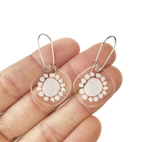 Mini Sunshine Earrings Clear - Mikmat Designs Earrings Laser Cut Designs