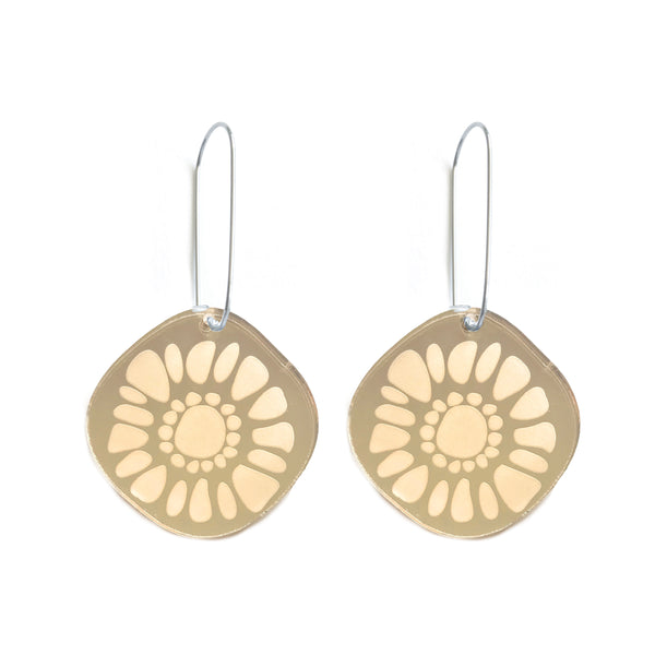 Frozen Sunshine Gold Mirror Hooked Earrings - Mikmat Designs