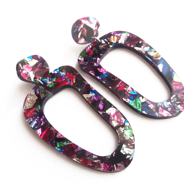Galaxy Glitter Earrings Multicoloured - Mikmat Designs