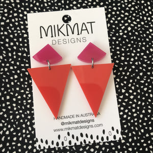 Gelato Drop Earrings Bright Red & Pink - Mikmat Designs Earrings Laser Cut Designs