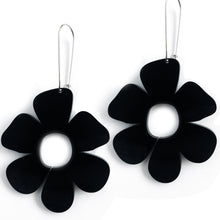 Load image into Gallery viewer, Giant Flower Earrings Black - Mikmat Designs