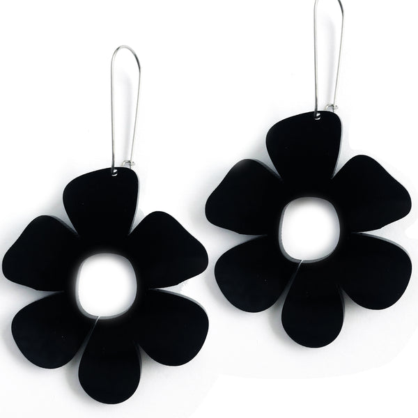 Giant Flower Earrings Black - Mikmat Designs Earrings Laser Cut Designs
