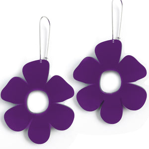 Giant Flower Earrings Purple - Mikmat Designs Earrings Laser Cut Designs