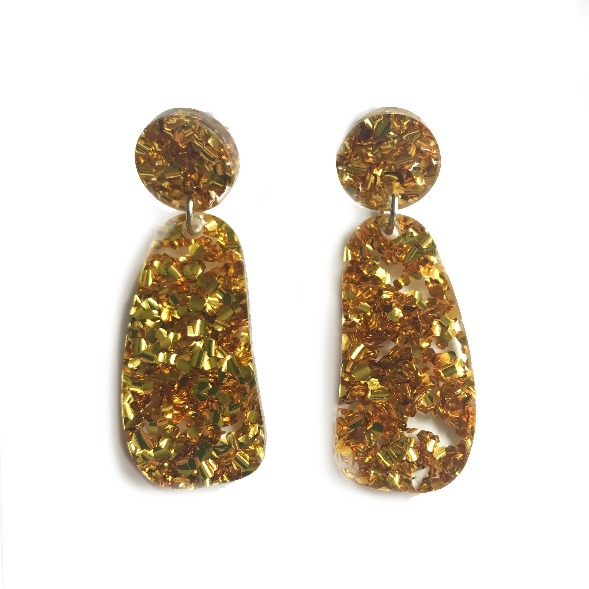 Organic Glitter Drop Gold - Mikmat Designs Earrings Laser Cut Designs