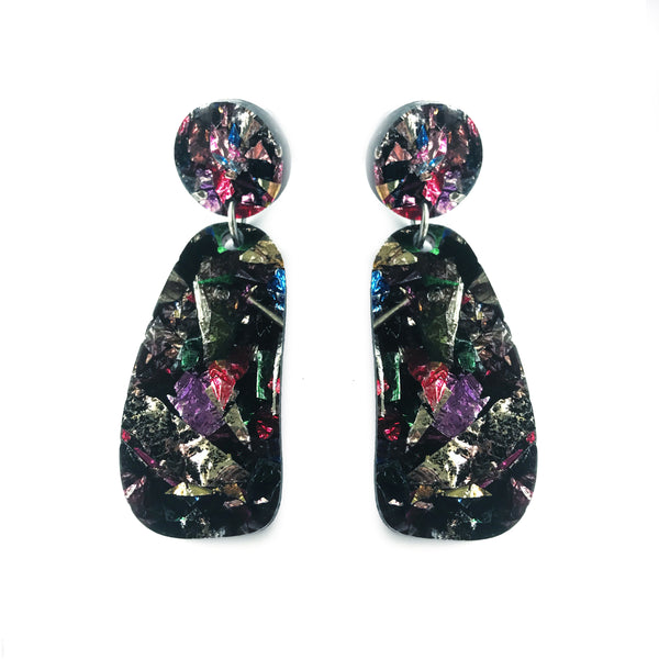 Organic Glitter Drop Multicolour - Mikmat Designs Earrings Laser Cut Designs