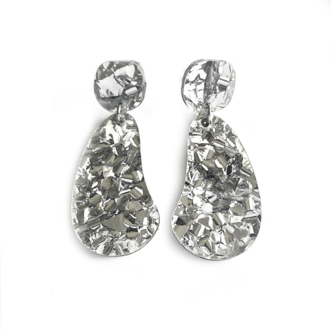 Organic Glitter Drop Silver - Mikmat Designs Earrings Laser Cut Designs