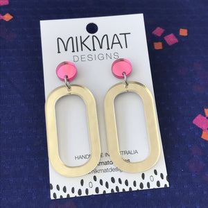 Gravity Drop Earrings Gold & Pink - Mikmat Designs