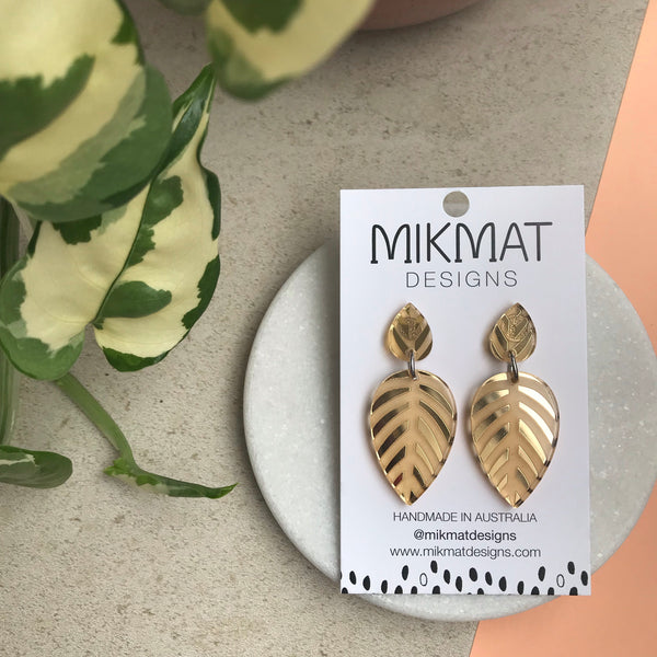 Spring Leaves Gold Mirror Earrings - Mikmat Designs Earrings Laser Cut Designs