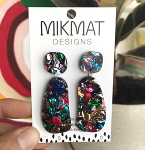 Organic-shaped Multicolour Glitter Earrings - Mikmat Designs