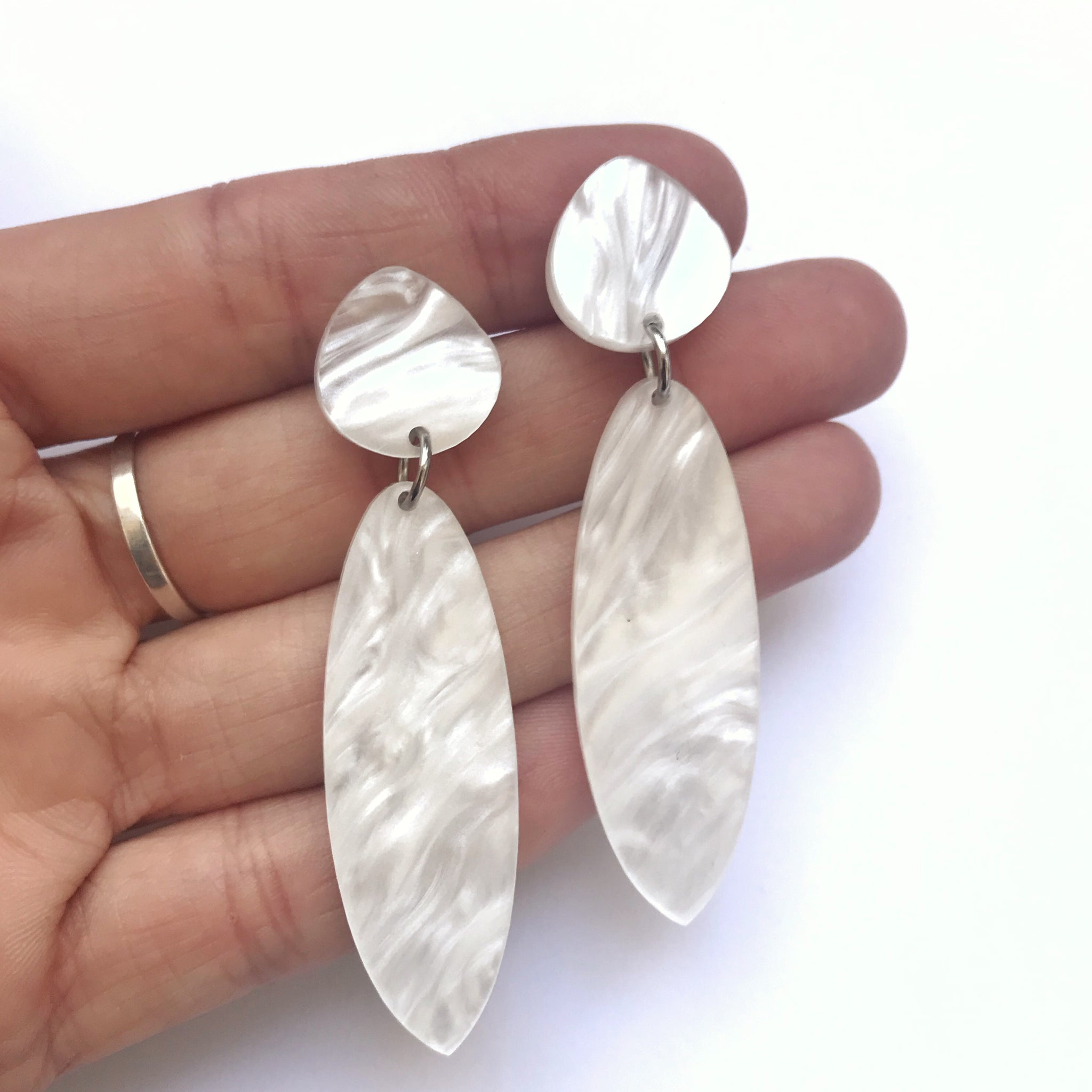 Cuttle Earrings White Marble - Mikmat Designs Earrings Laser Cut Designs