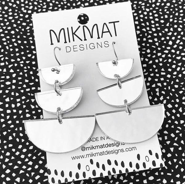 Moon Phases Drop Earrings Silver Mirror - Mikmat Designs Earrings Laser Cut Designs