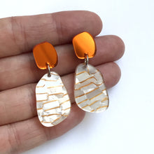 Load image into Gallery viewer, Stone Drop Earrings in Orange Mirror and Gold Fleck