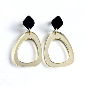 Organic Egg Drop Earrings Gold - Mikmat Designs Earrings Laser Cut Designs
