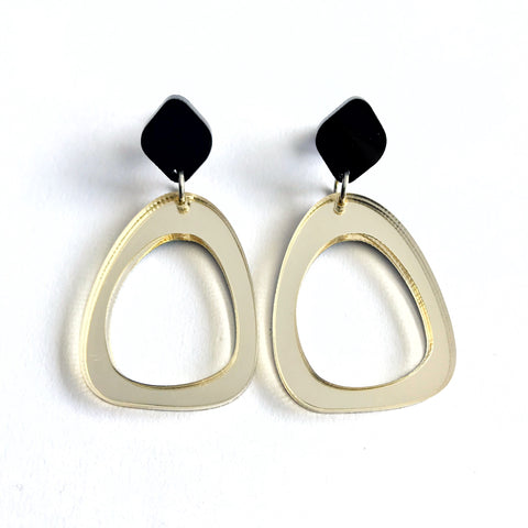 Organic Egg Drop Earrings Gold - Mikmat Designs