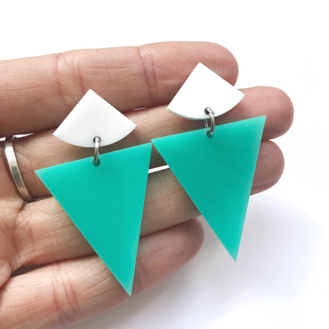 Gelato Drop Earrings Mint & White - Mikmat Designs Earrings Laser Cut Designs