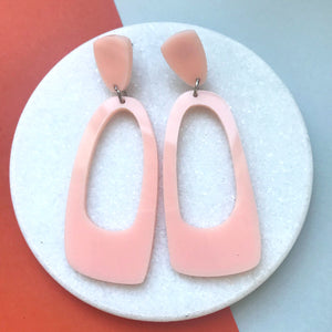 Oval Hoop Earrings Blush Pink - Mikmat Designs Earrings Laser Cut Designs