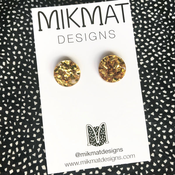 Dot Large Size Glitter Stud Earrings CHOOSE COLOUR - Mikmat Designs Earrings Laser Cut Designs