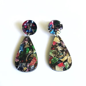 Glitter Drops Earrings Confetti - Mikmat Designs Earrings Laser Cut Designs