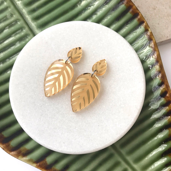 Spring Leaves Gold Mirror Earrings - Mikmat Designs