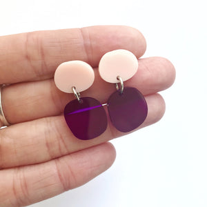 Mini Dot Earrings in Purple and Blush - Mikmat Designs Earrings Laser Cut Designs