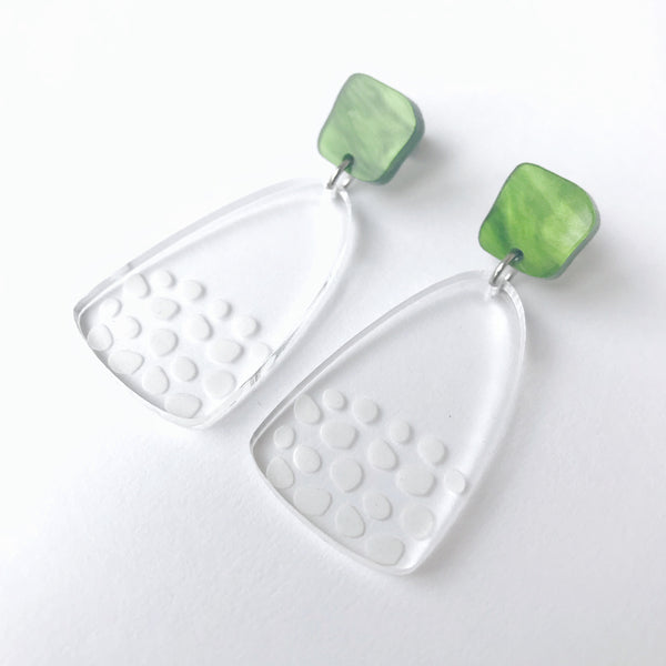Freckle Earrings Etched Clear Acrylic Marble Green Top - Mikmat Designs Earrings Laser Cut Designs