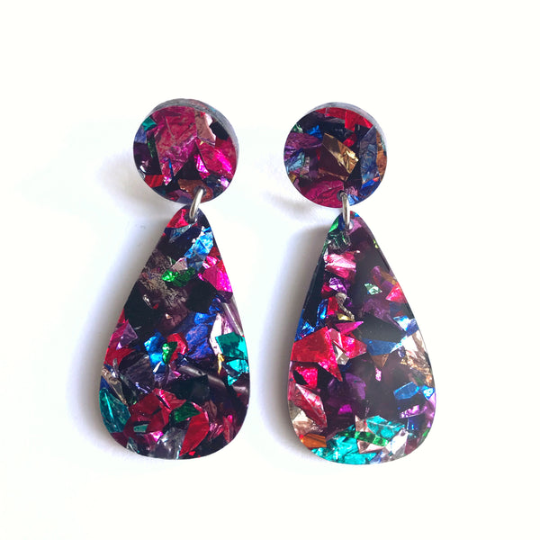 Glitter Drops Earrings Multicoloured - Mikmat Designs Earrings Laser Cut Designs